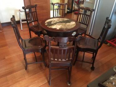 Bộ bàn ăn gỗ trắc 6 ghế bàn mặt đá rộng 90cm