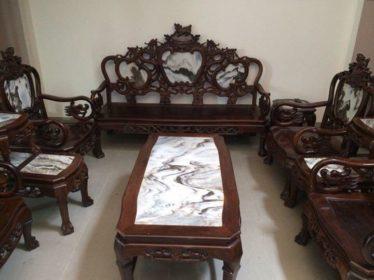 Bộ bàn ghế đỉnh rồng gỗ trắc 8 món hàng xuất sắc tinh sảo