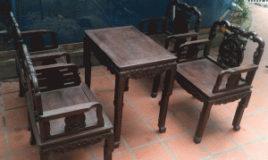 Bộ bàn ghế vách tàu gỗ gụ ta hàng mộc