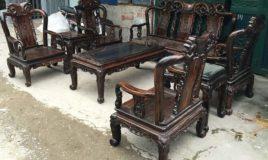 Bộ bàn ghế gỗ mun minh đào tay 7 hàng 8 món - ĐỒ GỖ TIẾN THẮNG