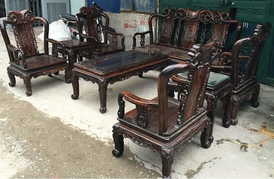 Bộ bàn ghế gỗ mun minh đào tay 7 hàng 8 món