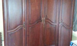 tủ quần áo 4 buồng gỗ gụ hàng nét