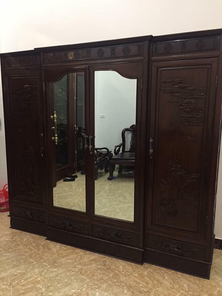 Tủ quần áo gỗ gụ 4 buồng kt 240x220x60
